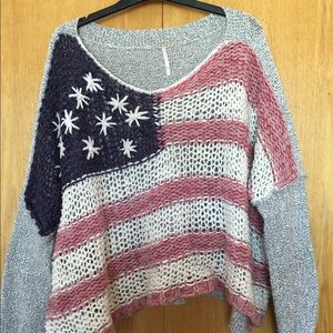 Free People Cropped American Flag Sweater M